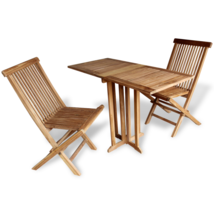 Garden Bistro Set Wood Folding Table And Chairs... - $152.15