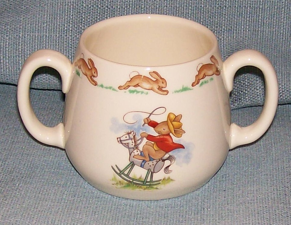 Royal Doulton Bunnykins -2 Handled Child Cup - Cowboys and Indians -VGUC image 5