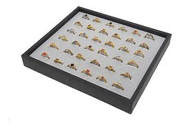 1 Grey 36 Ring Display Storage Stackable Jewelry Display Ring Tray - $8.90
