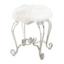 Modern White Faux Fur Covered Vanity Stool w/ Silver Scroll Legs - $86.95