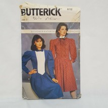 Misses Dress Fitted Slightly Flared Sewing Pattern 6112 Size 8 Butterick... - $20.99
