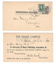 UX19 USED TWICE Maine Campus Publication 1908 Orono Me Bangor Me Barry C... - $34.00