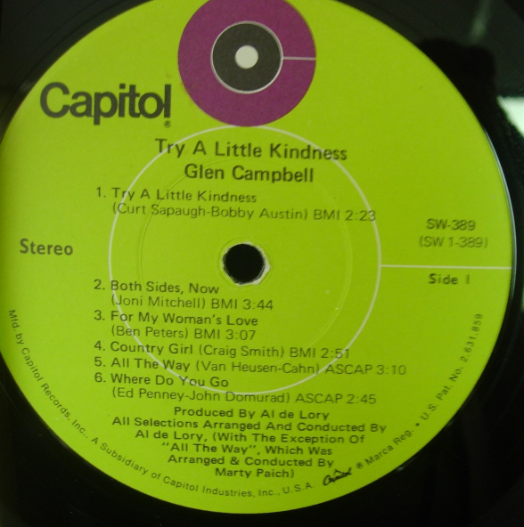 Glen Campbell - Try a Little Kindness - Capitol Records SW-389