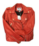 Walter Baker Ruby Red Liz Leather Moto Motorcycle Jacket size XS NWT - $98.99