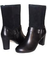 """❤️HUSH PUPPIES Waterproof Black Leather Suede 3"""" Heel Zip Boot 9 Wide NE... - $64.59"""