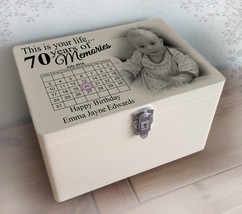 Personalised solid pine white wooden memory box, this is your life 70th ... - $46.16+