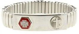 Silver Tone Stainless Steel Large Medical Alert ID Stretch Bracelet With... - $37.95