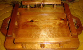 VTG FANCY FOLK ARTS & CRAFTS HANDMADE CARVED WOOD TABLE CENTERPIECE LAZY... - $167.99