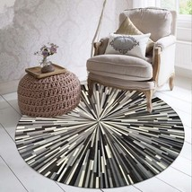 Geometric Striped Rugs Black And White Gray Simple Abstract Pattern Round Carpet - $42.45+