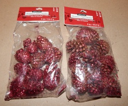 "Pinecones Small  Bags 2ea With Red Glitter On Them 1 1/2"" Ashland Christ... - $5.49"