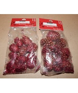 """Pinecones Small  Bags 2ea With Red Glitter On Them 1 1/2"""" Ashland Christ... - $5.49"""