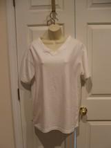 new in pkg elements v neck white short sleeve tee shirt  cotton blend  m... - $9.89