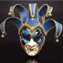 Full Face Men Venetian Theater Jester Joker Masquerade Mask With Bells M... - £18.17 GBP