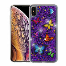 For APPLE iPhone XS Max Butterfly Dancing Purple Glitter Hybrid Case Cover - $11.07