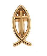 14K Gold Ichthus (Fish) Cross Lapel Pin - $158.99