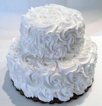 White Wedding Cake Rosette Fake Cake Display Prop Decoration Two Tier - $59.39