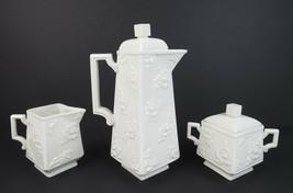 Rare Vintage Boehm Porcelain 3pc Rose Coffee Set Pot Creamer Sugar Bowl Tea - $169.22