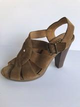 Kors Michael Kors Womens Open Toe Heeled Suede Sandals 6.5M Brown  - $55.86