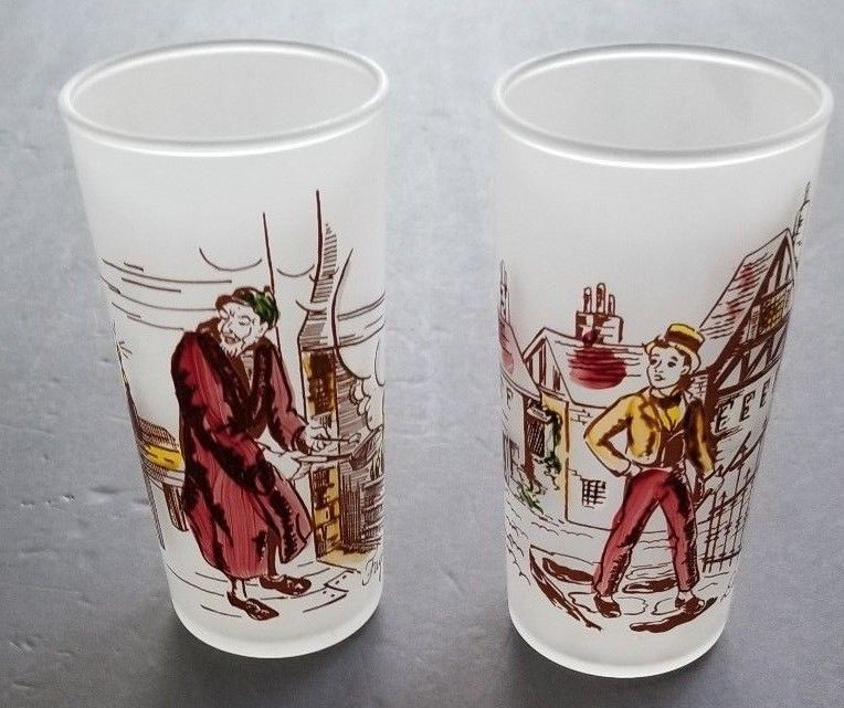 Vintage Frosted Glasses David Copperfield Fagin Set 2 Tom Collins Cocktail Glass