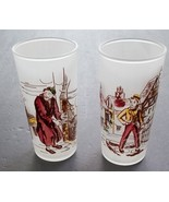 Vintage Frosted Glasses David Copperfield Fagin Set 2 Tom Collins Cockta... - $30.40