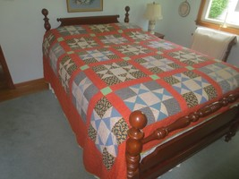 "Hand Stitched 9-Block Star Design Patchwork Cotton Quilt - 114"" X 96"" - $108.90"