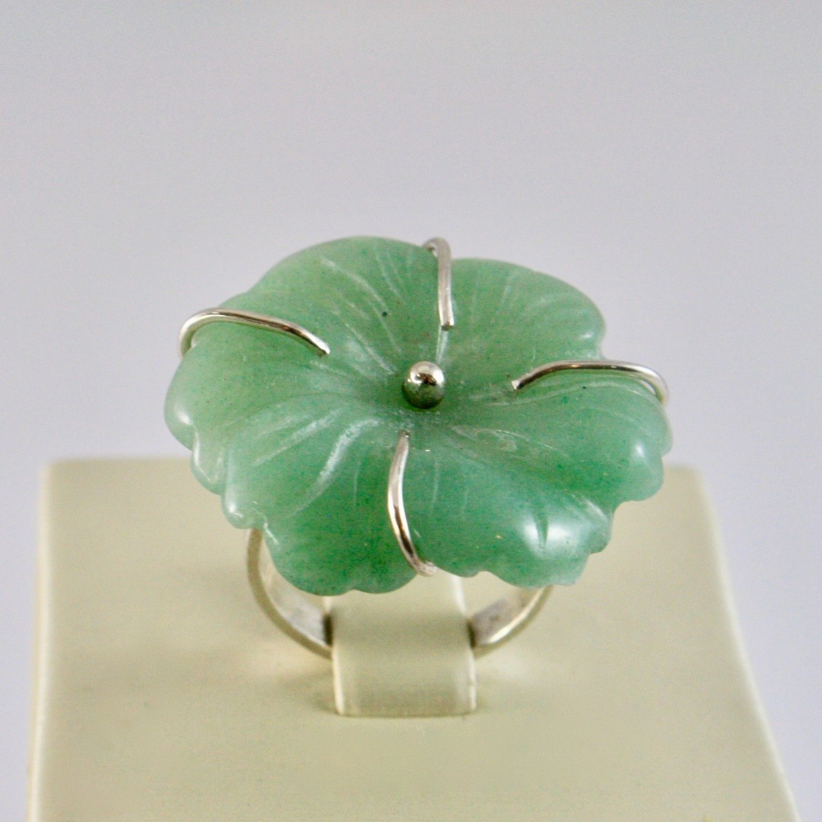 925 SILVER RING WITH LOVELY FLOWER GIADA GREEN NATURAL SIZE 12