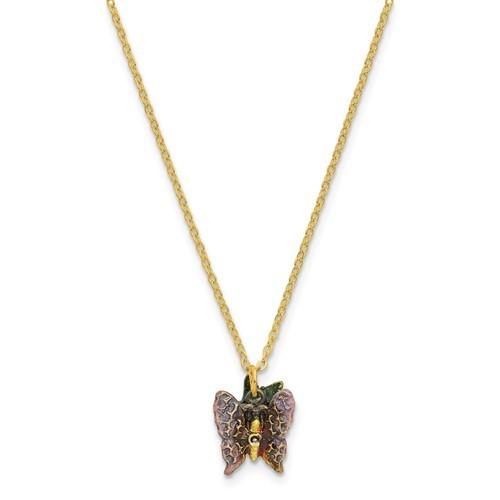 Bejeweled Butterfly & Flowers Trinket Box