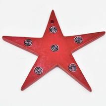 Tabaka Chigware Hand Carved Kisii Soapstone Red Star Christmas Tree Ornament image 2