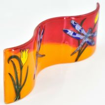 Fused Art Glass Red & Orange Dragonfly Wavy Decor Sun Catcher Handmade Ecuador image 5