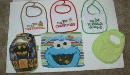 Lot of 6 Baby Boy Bibs 1st Thanksgiving Christmas Batman Cookie Monster kh  - $8.50