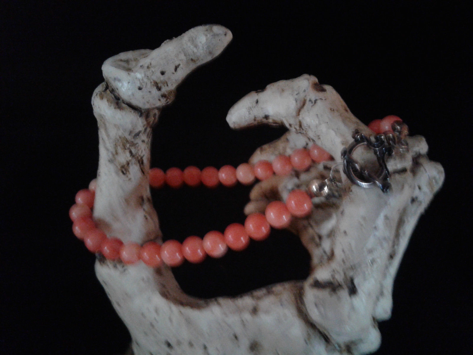 "7.5"" Beaded Bracelet, Peachy Coral, Handmade, #z369"