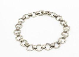 925 Sterling Silver - Vintage Paisley Detail Circle Link Chain Bracelet - B6325 image 3