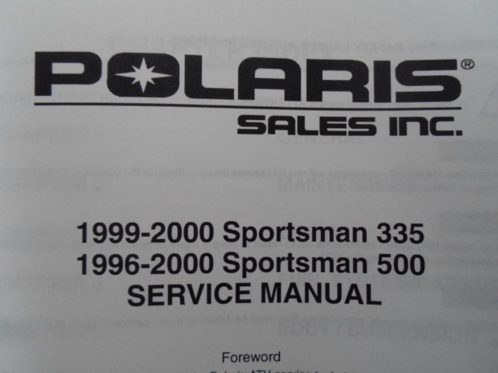 ... 1996 1997 1998 1999 2000 Polaris Sportsman 335 500 Service Repair Shop  Manual x ...