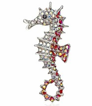 Stunning Diamonte Silver Plated Vintage Look Seahorse Christmas Brooch Cake PIN - $12.53