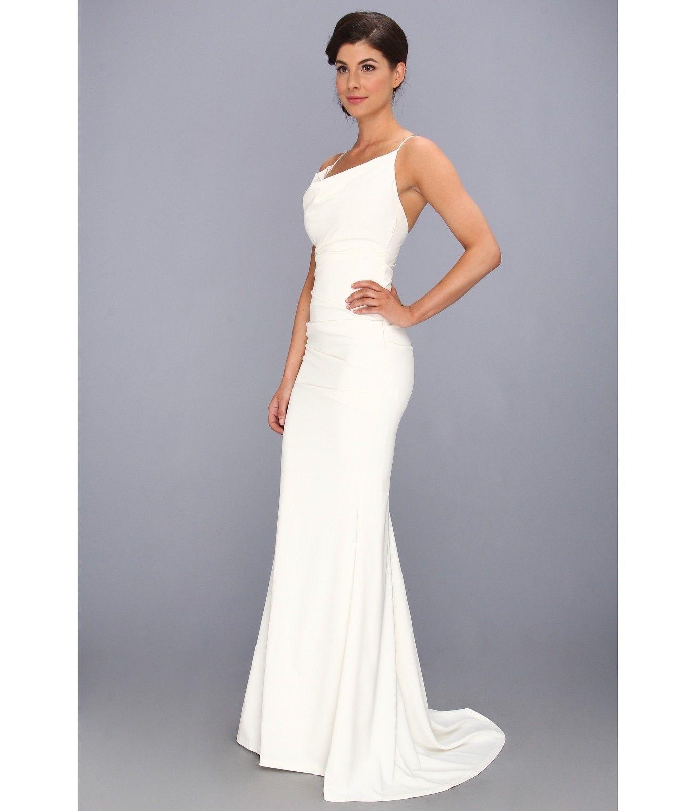 Nicole Miller Tara Cowl Women's Wedding Dress Bridal Gown Antique White Size 6