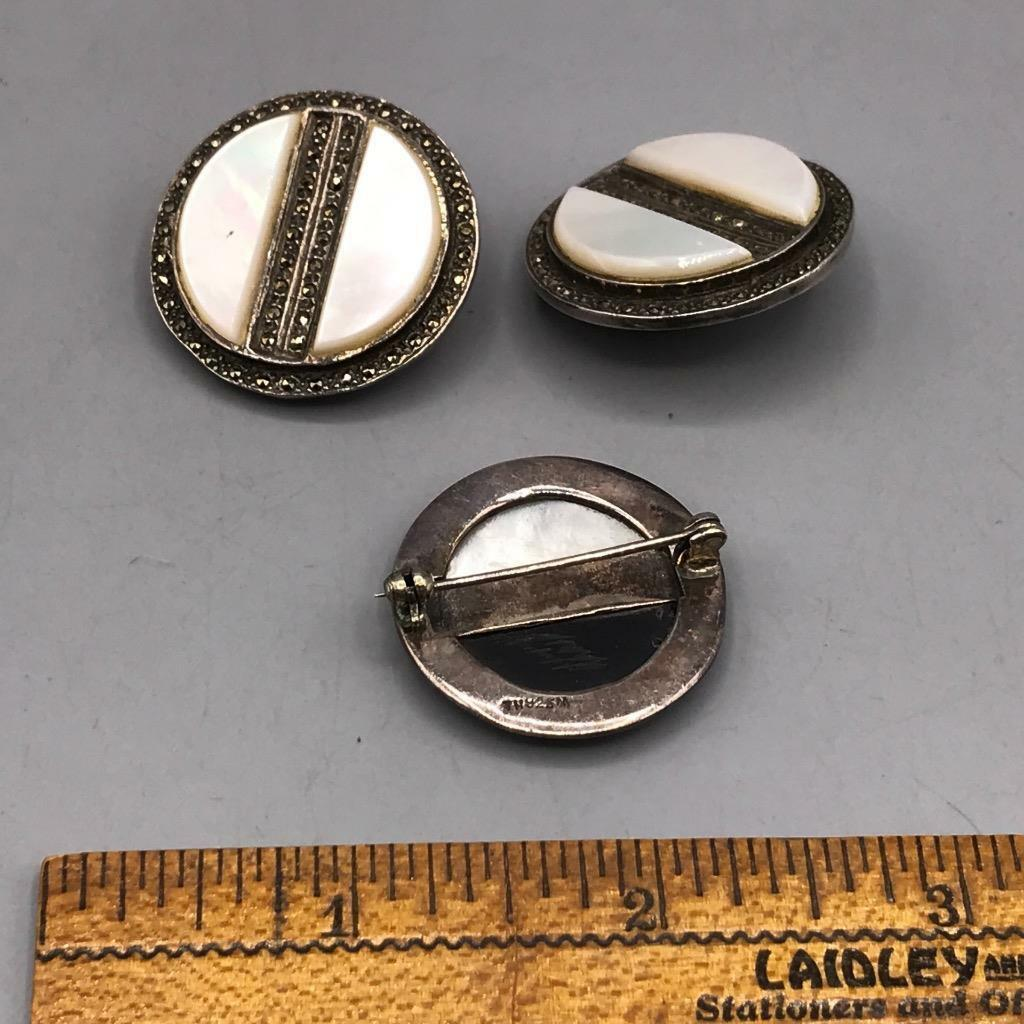 Vintage Sterling Silver Clip On Earrings & Brooch Set Jewelry Mid Century image 5