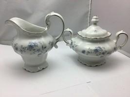 Johann Haviland BLUE GARLAND Sugar Bowl and Creamer, Bavaria Germany - $59.40