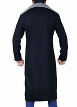Mens Taboo Long Length Tom Hardy Fur Collar Delaney Wool Black Trench Coat image 4