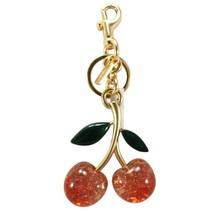 NWT COACH Signature Cherry Bag Charm Key Chain Dogleash Bling Gold Red 8... - $51.48