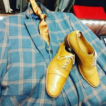 Handmade Men Tan Leather Laceup Oxford Shoes image 4
