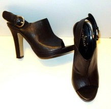 Cole Haan Leather Open Toe Platform Heel Buckle Sandal Shoe Sandal Black 9B - $23.99