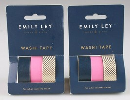 "2 Packs of three Rolls Each Emily Ley Paper Gifts Washi Tape NIP 1/2""x5.4 Yards"
