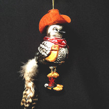 Christmas Bird Cowboy Jointed Legs Glass Ornament - $27.72