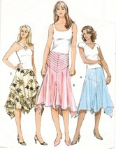 Vogue Misses Yoked Flared Skirt Overskirt Handkerchief Hem Sew Pattern 1... - $13.99