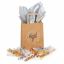 Kraft Paper Bags Bulk with Handles and Printed Thank-You Design for Gift NO BOWS image 5