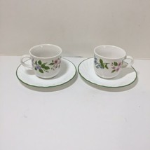 2 Cups & Saucers Corelle Delicate Array Stoneware Flowers Green Rimmed - $9.74