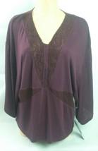 New Jennifer Lopez Top Womens Size Medium Purple V Neck Dolman Sleeve Blouse $48 - $30.84