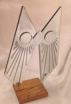 BIG Vintage JON GILMORE Art Glass OWL Mirror Sculpture Era Mid Century S... - $55.13