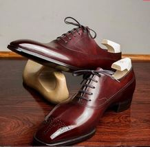 Handmade Men's Red Brogues Style Dress/Formal Oxford Leather Shoes image 4