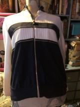 St. John Sport Slick Navy Blue White Classic Cardigan Size P - $24.75